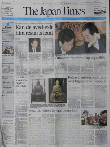 Japan Times front page 2011/06/04 #8071