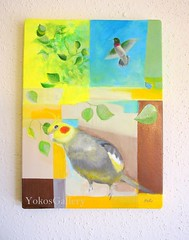 A little company (YokosGallery) Tags: portrait pet art leaves birds yellow painting paper acrylic originalpainting parrot canvas cockatiel hummingbirds etsy yokosgallery