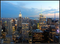 Big Apple....Blue Hour.... (powerfocusfotografie) Tags: city usa ny newyork architecture america lights nikon scenery mood scene citylights empirestatebuilding rockefellercentre bluehour bigapple eastcoast powerfocus 100commentgroup