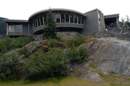 A picturesque view of the Mendenhall Glacier Visitor Center located on the Tongass National Forest in Juneau, Alaska