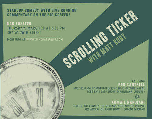 Scrolling Ticker at UCB on March 20