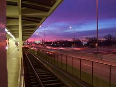 Colorful sunrise (Mr. Montrose) Tags: park blue chicago colors skyline train sunrise lights cta kodak archive el line l keystone irving expressway kennedy pulaski irvingpark 9094