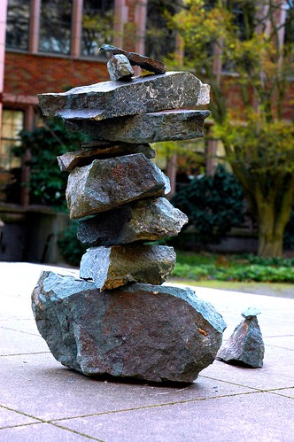 Abstract art. Cairn Ahu Rock Stack Inuksuk, Temple of the Honored and Adored Things by Wonderlane