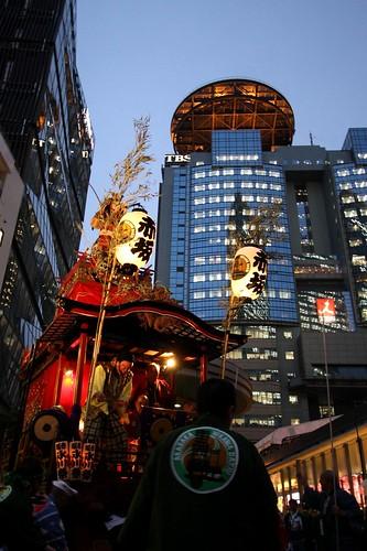 Akasaka TBS and festival car, Tokyo