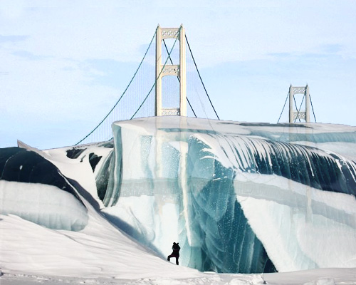 Canadian Freeze Ray encases Mackinac Bridge!