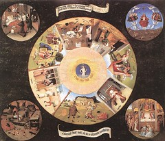 The Seven Deadly Sins and the Four Last Things, Hieronymus Bosch, 1485, Public domain image, copyright term of life of the author plus 100 years.