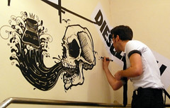 Diesel Wall Launch Party (eight bit) Tags: street art wall illustration ink manchester photography skull graffiti mural diesel 8 iain 8bit draw 2008 bit eight posca claridge eightbit