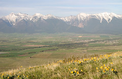 The Mission Mountains, Mission Valley and town of St. Ignatius as seen from Red Sleep Mountain on the National Bison Range