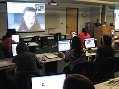 """Avril Cunningham presents """"Library 2.0 Virtual Learning Spaces: Meebo Rooms vs. Skype Conferencing for Real-Time Online Library Instruction Classes"""" (msulibrary1) Tags: library web20 summit librarians msul2summit mississippistateuniversitylibraries msulibrariesmississippistate"""