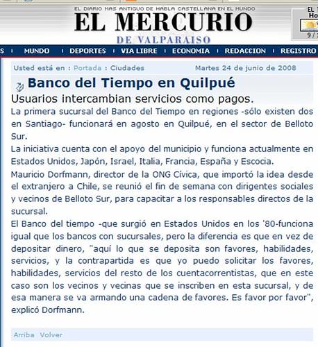 Banco del tiempo en El Mercurio de Valparaiso
