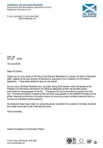K MacAskill FOI policy response 19 June 2008