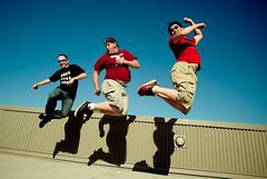jump. jump. JUMP! (Rachel-B) Tags: seattle blue roof sky jason fly washington jump jumping air danny bite wa shawn biteofseattle poopoorama punkjr slightlynorth