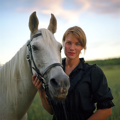(Monsieur Marchi) Tags: portrait horse woman 120 6x6 film girl zeiss renate sweden jena carl uppsala medium format 28 80mm pentaconsixtl kodakportra160nc biometar