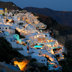 Oia by night (Santorini) (MarcelGermain) Tags: travel houses sky architecture night buildings geotagged greek lights islands noche town nikon mediterranean european aegean swimmingpool santorini greece caldera nuit notte nit illa swimmingpools grcia  d80 marcelgermain