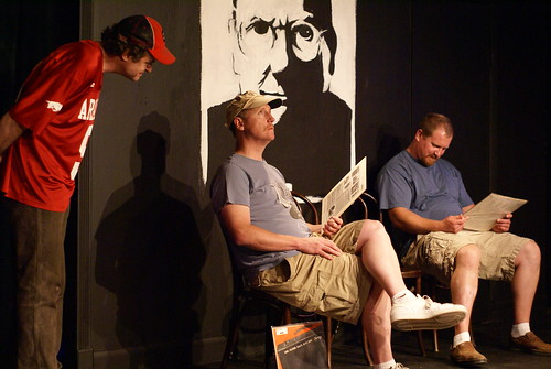 Dels likeness presides over Walsh (middle) and his UCB mates during last years Press Conference.  Photo by Sharilyn Johnson