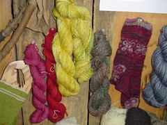 WCF Fiber Wall close up of red Kool Aid, Evelyn's Roses Butterfly sock