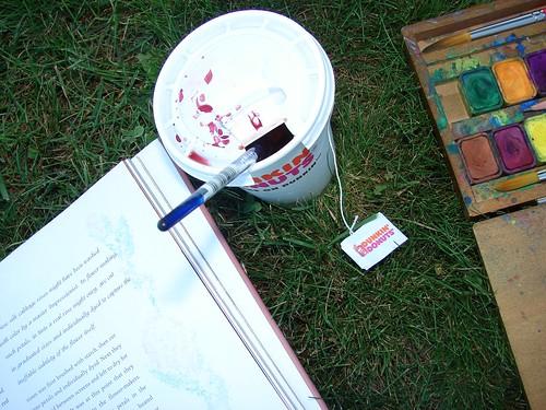 tea, book and watercolor box