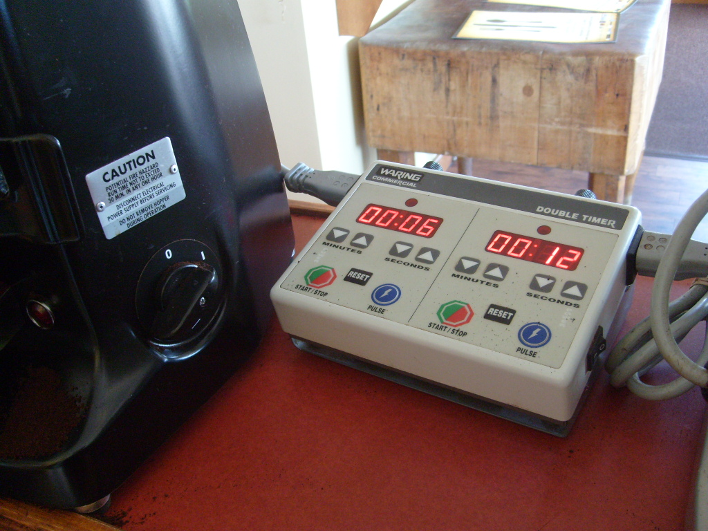 This electronic timer can run two grinders.