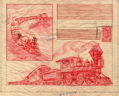 Disneyland Steam Trains Illustration 1955
