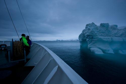 Scientist studying Ilulissat Kangia icebergs