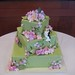 green with pink sugar flowers