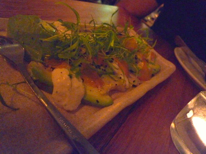 Bottarga (imported cured mullet roe) with organic avocado and horseradish labne