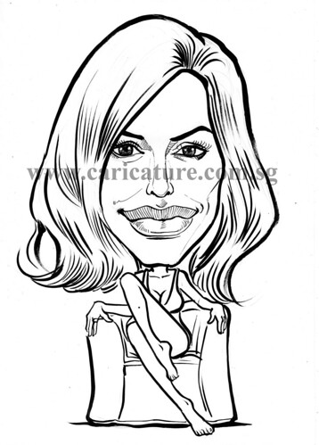 Celebrity caricatures - Angelina Jolie ink watermark