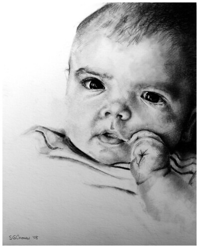 Carbon pencil drawing entitled Emre at 4 Months