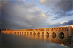Shining in sunset (Alieh) Tags: blue sunset architecture persian iran persia iranian  esfahan shining isfahan   siosepol 33pol aliehs alieh      33bridges shinysiosepol