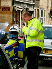 Policeman (cherington) Tags: uk england radio police gloucestershire motorbike bmw policeman policebike fluorescentjacket policemotorcyclist panasoniclumixdmctz3