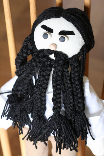 Note that there are three different sizes of braids.   Historically, Blackbeard was really vain about his facial hair and usually had ribbons braided into his beard, along with slow-burning fuses to freak people out. Dont worry, Im not forgetting those ;)
