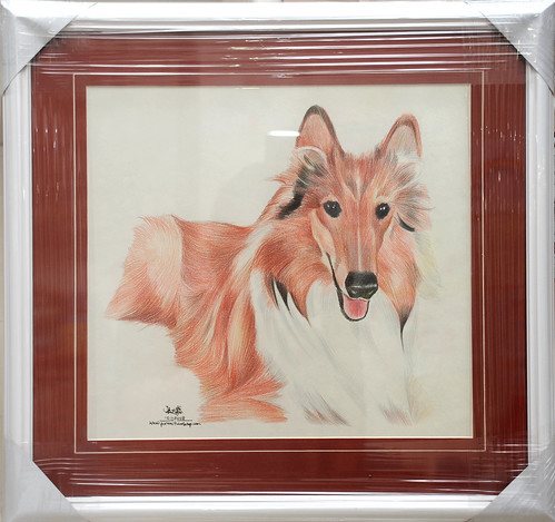 Dog portrait in colourpencil with frame