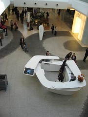 Westfield information desk (HallAnnie) Tags: world uk flowers winter england london silver shopping shoppingcentre tiles shoppingmall paving westfield informationdesk futuristic shepherdsbush westlondon w12 retailtherapy urbanenvironment decorativetiles silvertwigs