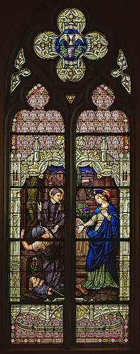 "Saint George Roman Catholic Church, in New Baden, Illinois, USA - stained glass window ""blessed are the merciful"""