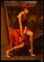 nEO_IMG_IMG_3251 (c0466art) Tags: city pink red portrait black color sexy strange night corner canon hair costume cool model dress emotion personal good taiwan hide edge rebellion shooting heel express feeling suki favor hight figture