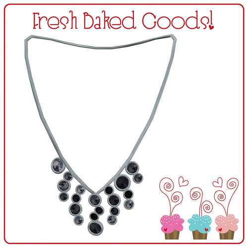 ~*Fresh Baked Goods*~ Black & White Sugar Silver Thumprint Cookie Necklace
