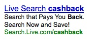 Live Search Advertises Cashback On Google