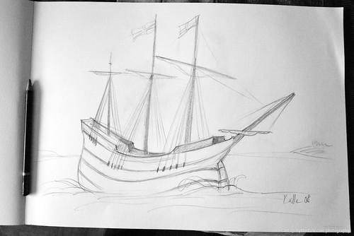 skepp - teckning