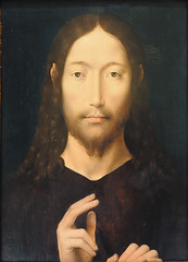 """Christ Giving His Blessing"" by Hans Memling (mark6mauno) Tags: art simon museum painting oak nikon christ panel hans norton blessing giving oil his pasadena nikkor d3 memling nortonsimonmuseum nikond3 2470mmf28g"