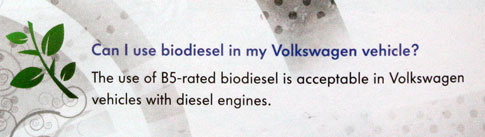 Can I use biodiesel in my Volkswagen