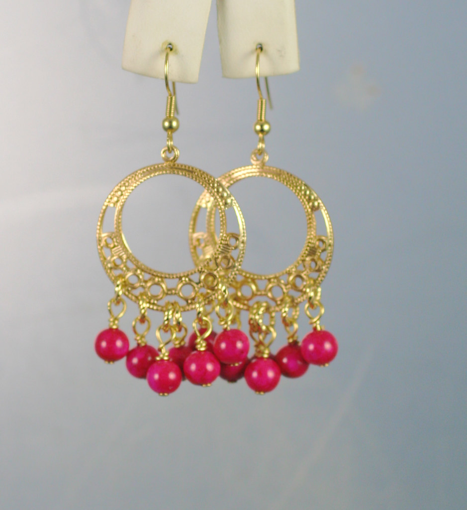 Pink Fushia Fossil Beads On Gold Filigree Brass Hoops Earrings Hand Crafted