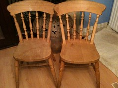 2 pine chairs (UkEllie) Tags: freecycle