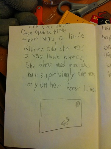 "Page one of ""The Four Lives of Meowy"""
