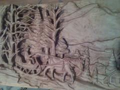 a winter motive - woodcarving - ενα χειμωνίατικο τοπίο.