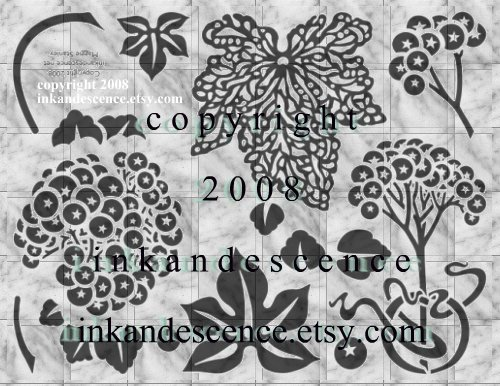 Berries and Leaves Rubber Stamp Sheet