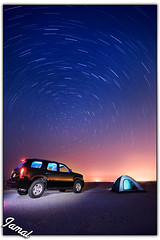Picnic With The Stars (Jamal Alayoubi) Tags: blue sky night sunrise dark star nikon asia desert space north tahoe tent east trail arab kuwait middle nikkor kar d3 jamal 1424 alayoubi