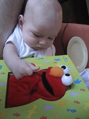 Elmo in a book