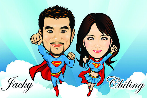 Q-Digital Caricatures - Super Couple