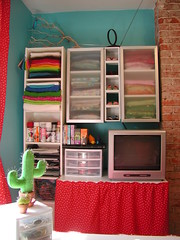 Cloth Stash, Felt Stash, TV Table, Etc. - South Wall (Crafty Intentions) Tags: cactus chimney white window computer tv desk turquoise sewing bricks craft fabric curtains pincushion crafty sewingroom craftroom craftsy fabricstash redpolkadot feltbird cactuspincushion craftyintentions feltbirdie
