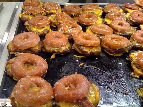 Krispy Kreme bacon cheddar cheeseburgers by ccaviness.